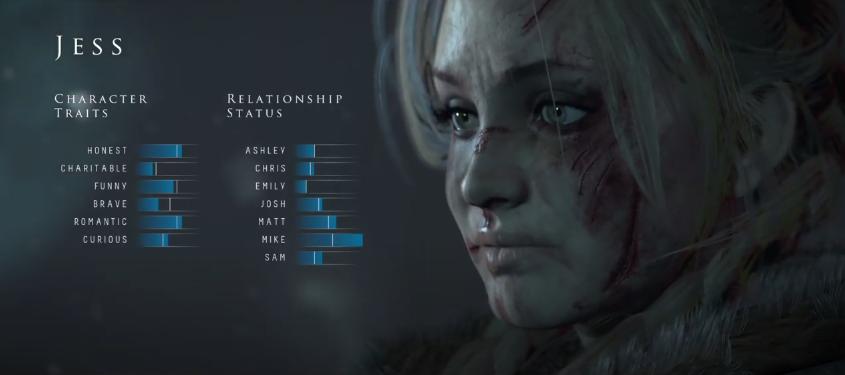Until Dawn menu UI screenshot