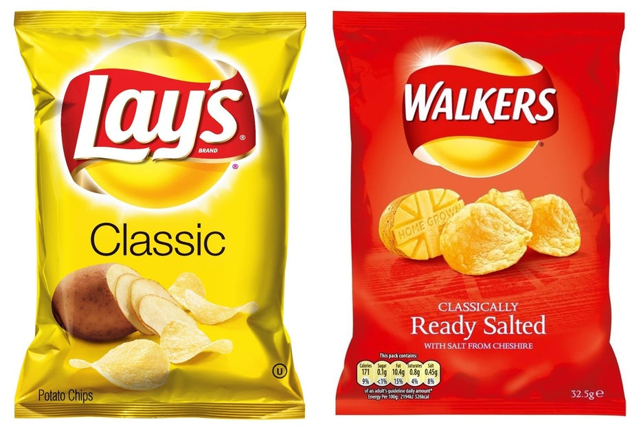 yellow Lays bag next to red Walkers bag