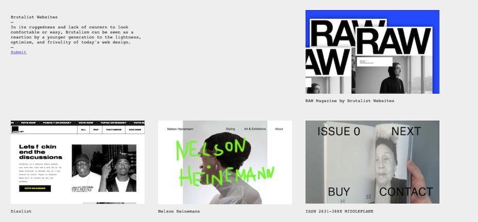 Screenshot of brutalistwebsites.com