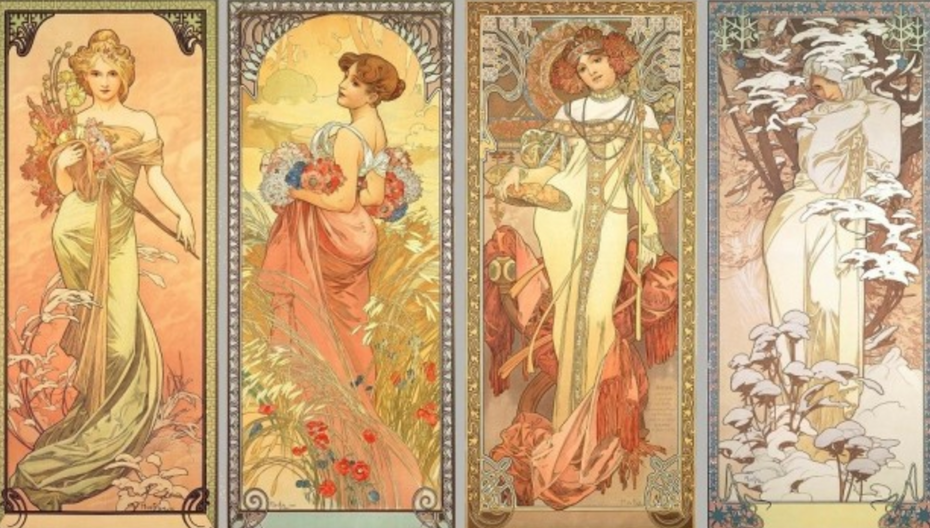 four panels of women illustrated in four seasons