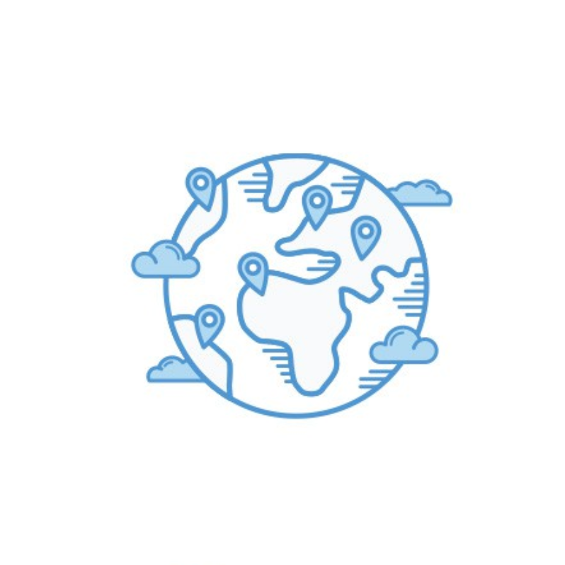 Illustration of world with location icons