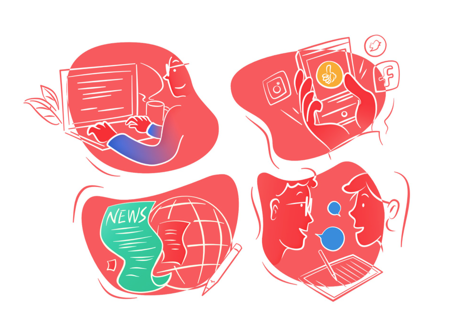 four illustrations: someone working on a computer, someone on social media on their phones, world news illustrations, conversations with two people