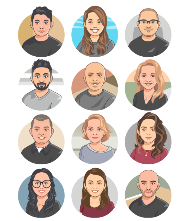 Avatar illustrations of different people