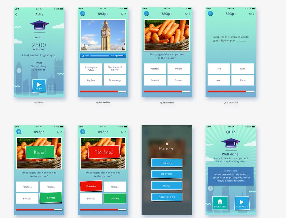 Language learning mobile game design