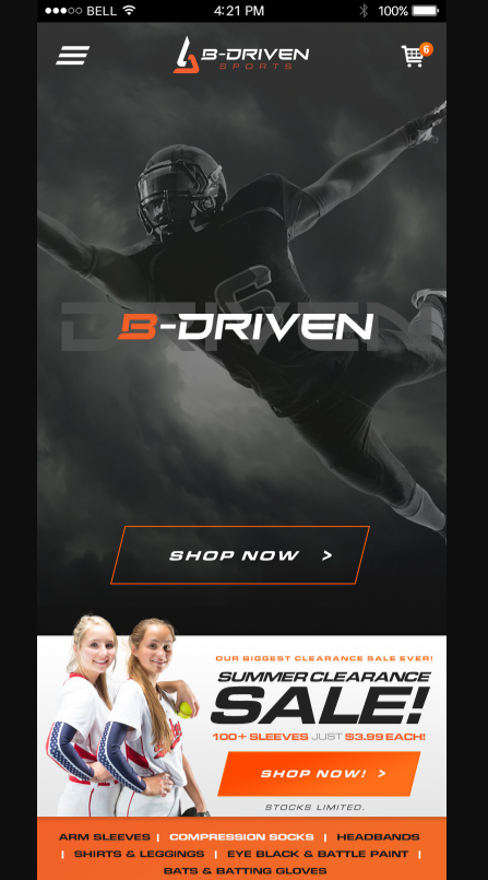 advanced Tech Mobile Website for B-Driven - The Sports Apparel Co