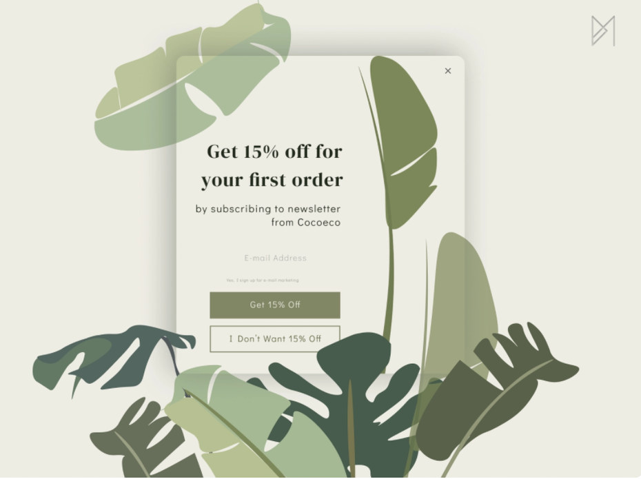 Green, leafy pop-up window for newsletter subscription