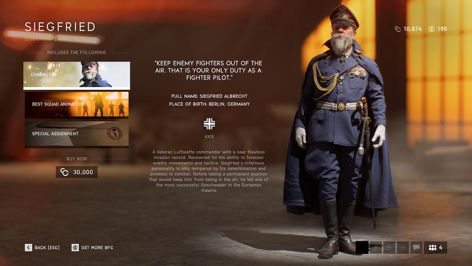 Battlefield V character screen image