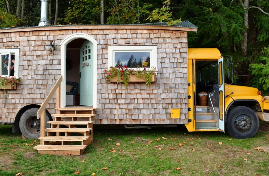 school bus converted into a small house