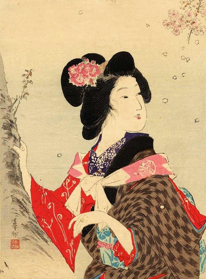 Woman looking of the side, Ukiyo-e style woodblock printing