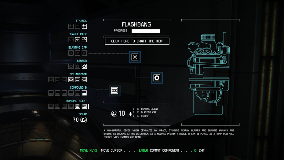 Crafting menu for Alien: Isolation
