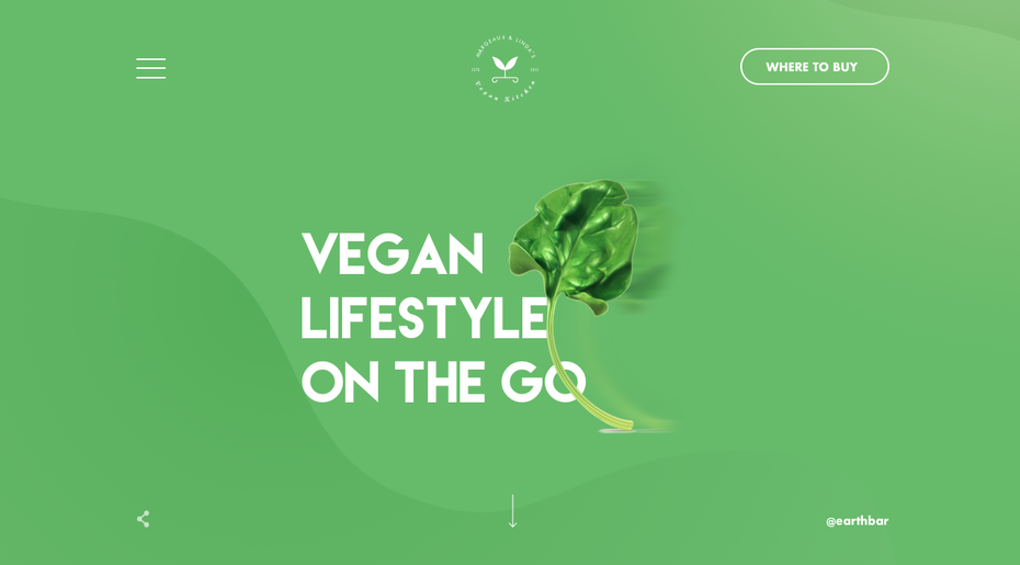 green and photo-heavy website for a vegan restaurant