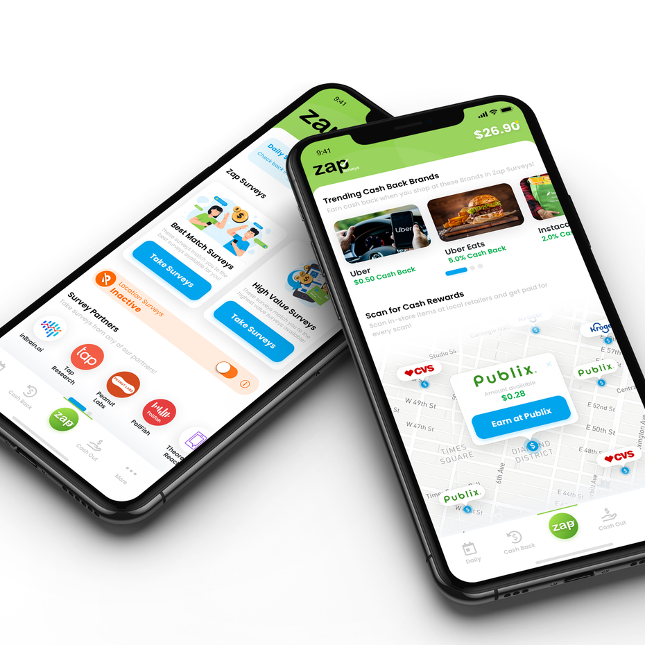 two mobile screens of a cash back app