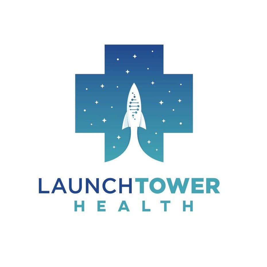 cross-shaped blue and green logo with a rocket