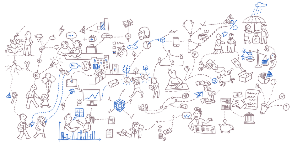 line illustration of people in all different interactions in gray and blue