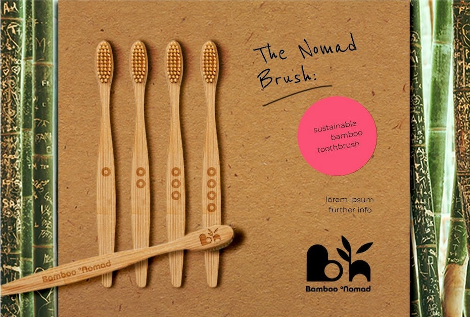 bamboo toothbrushes in a package