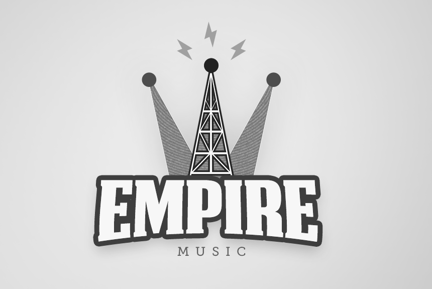 grayscale logo of text and a radio tower