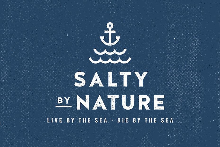 White text logo against blue background