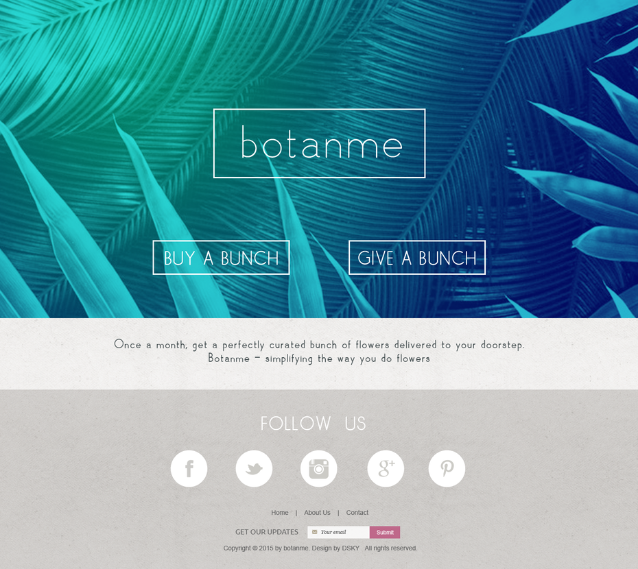 website for botanme, curated bunches of flowers