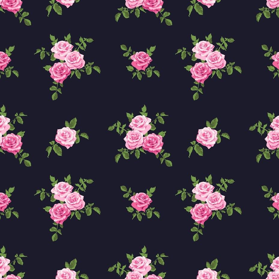 pink floral pattern on black background
