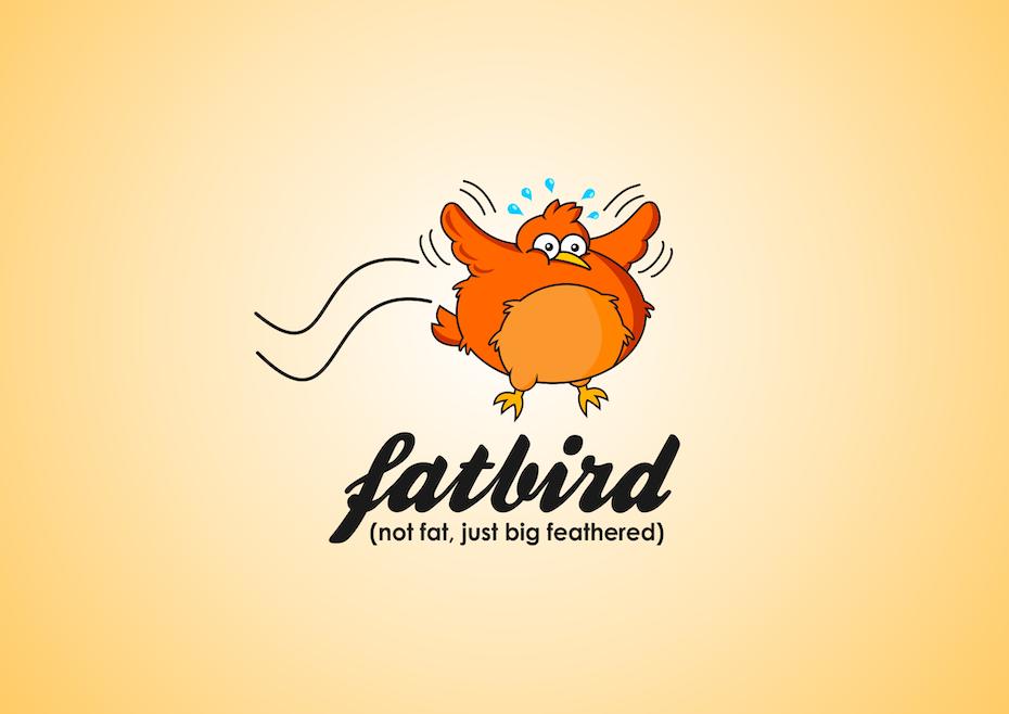 cartoon illustration of a fat orange chicken