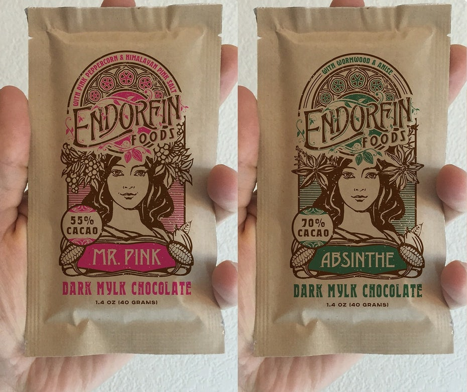 Organic chocolate packaging with woman and intricate curved lines