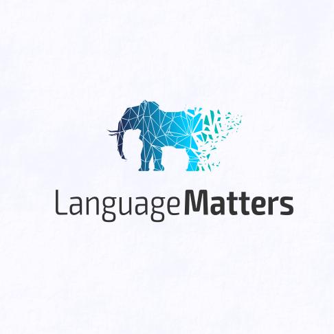 blue logo of a disintegrating elephant