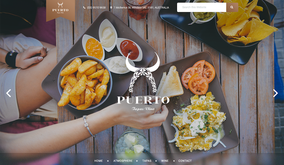 tapas website with white serif text and muted filters over the images