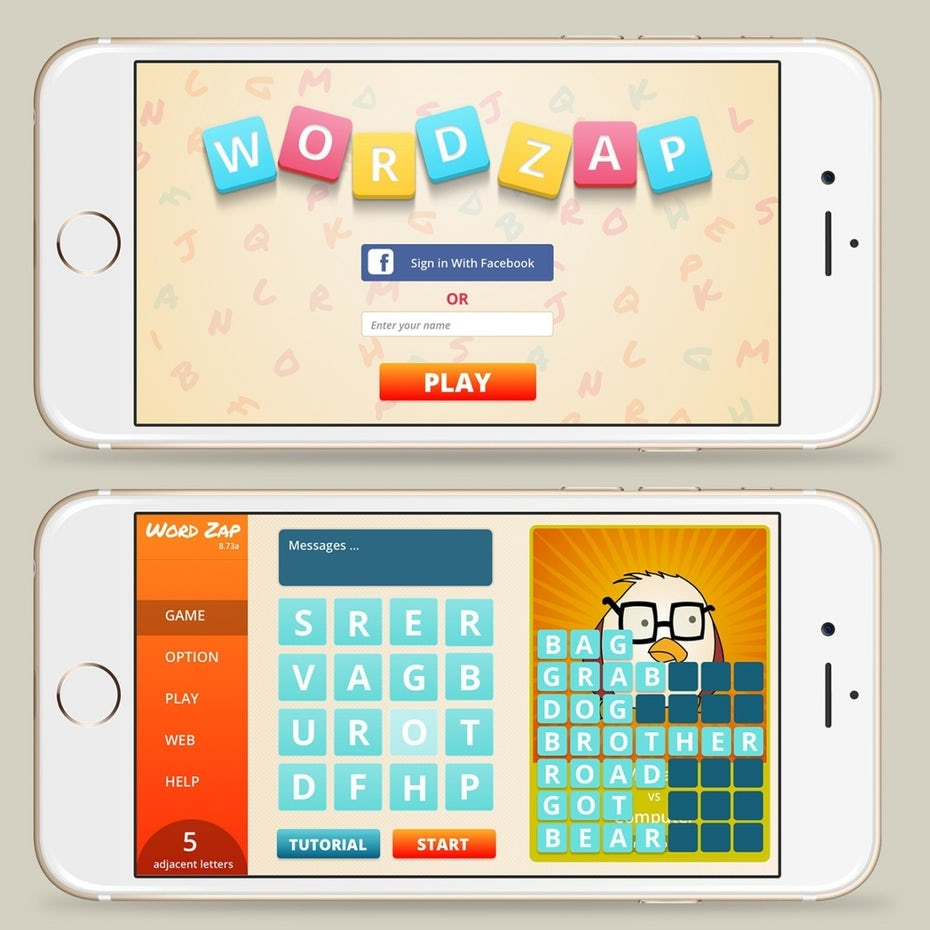 Mobile word game UI design