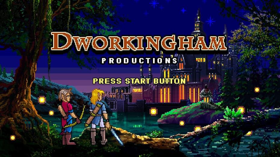 Pixel art retro video game start screen illustration