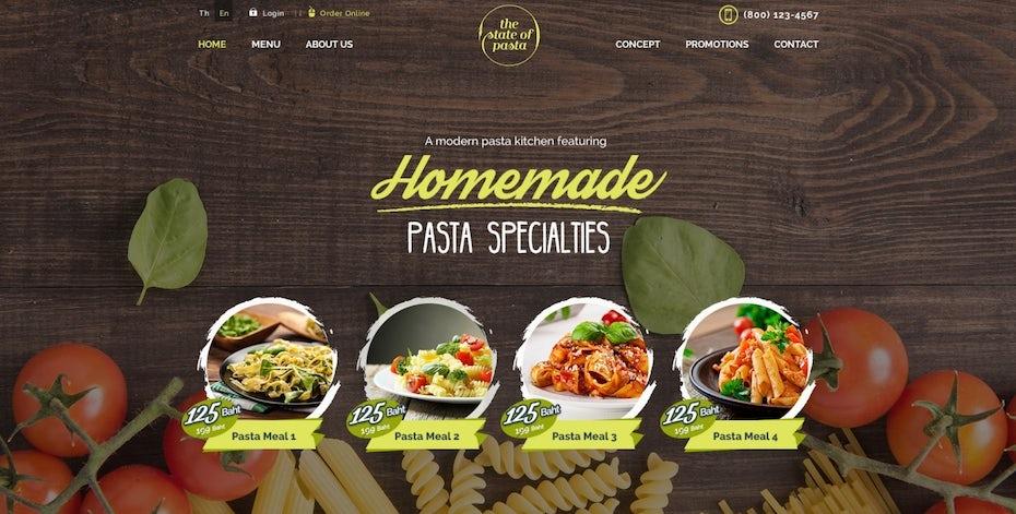colorful pasta restaurant website design featuring bowls of pasta