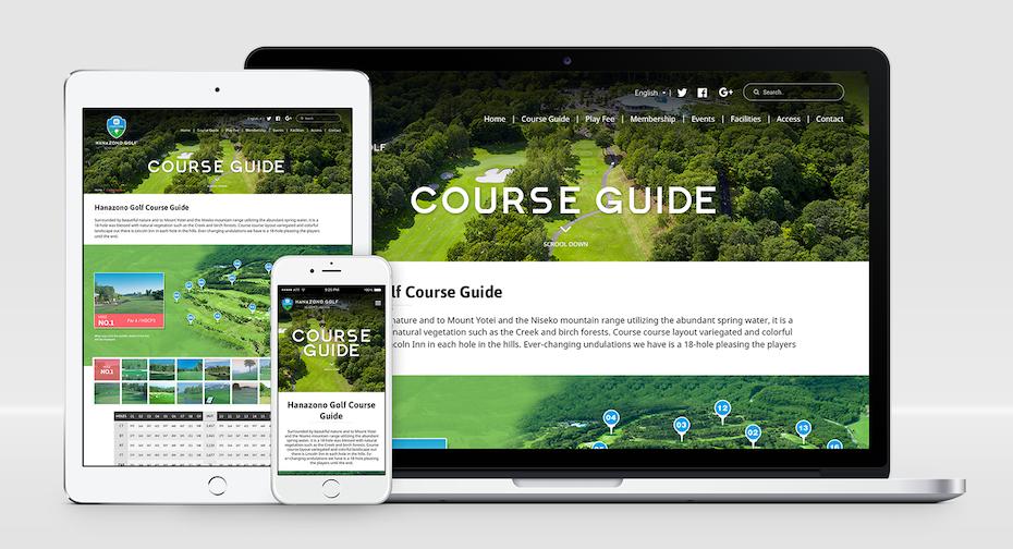 Responsive website design for a golf course