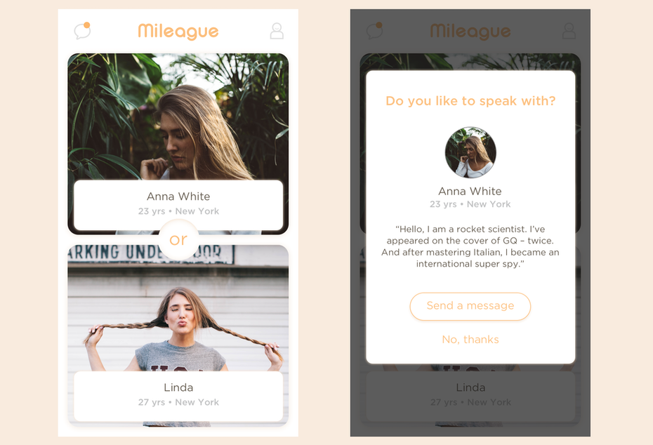 Pop-up window for a dating app