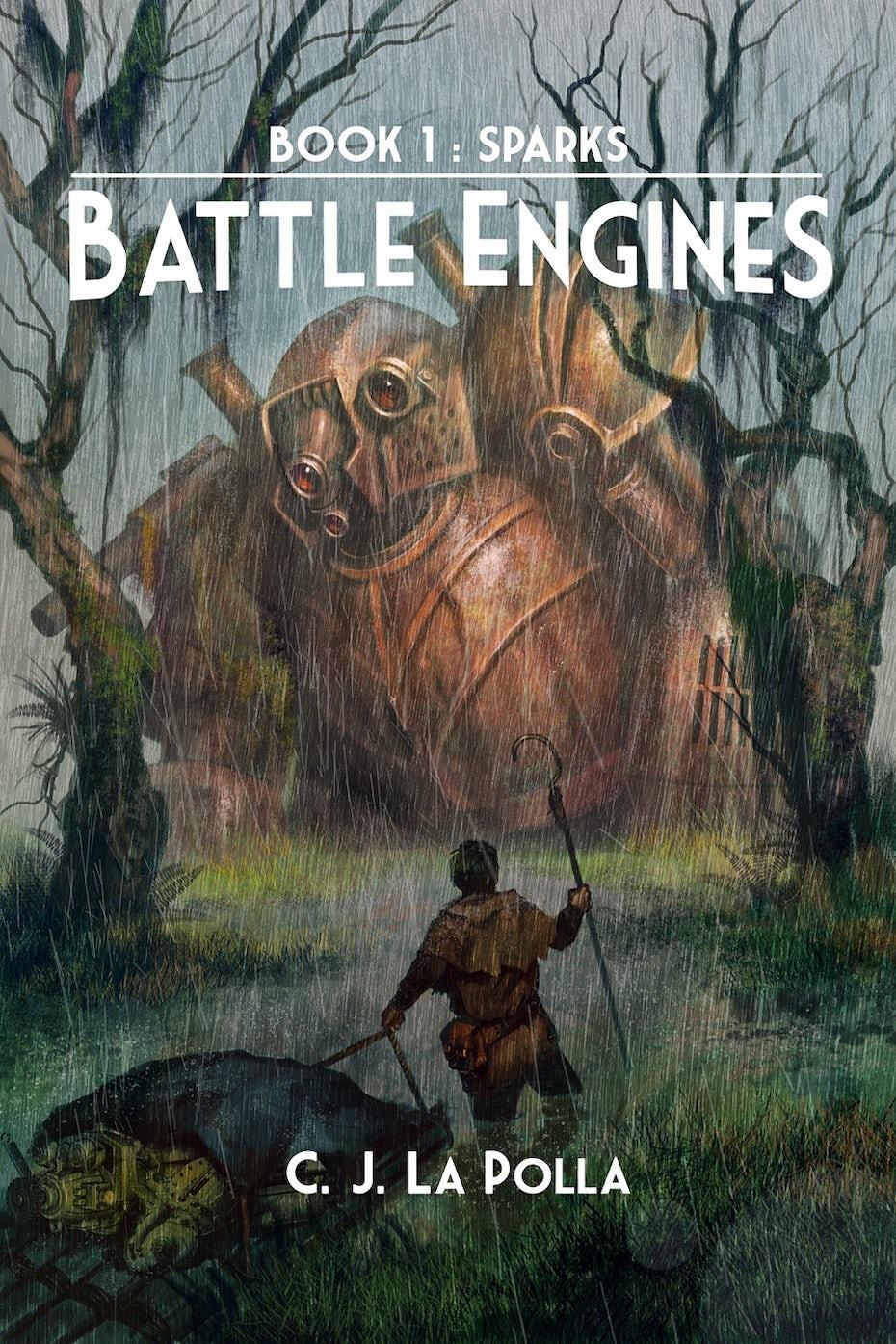 Illustrated scifi book cover design