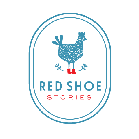blue logo of a hen wearing red shoes