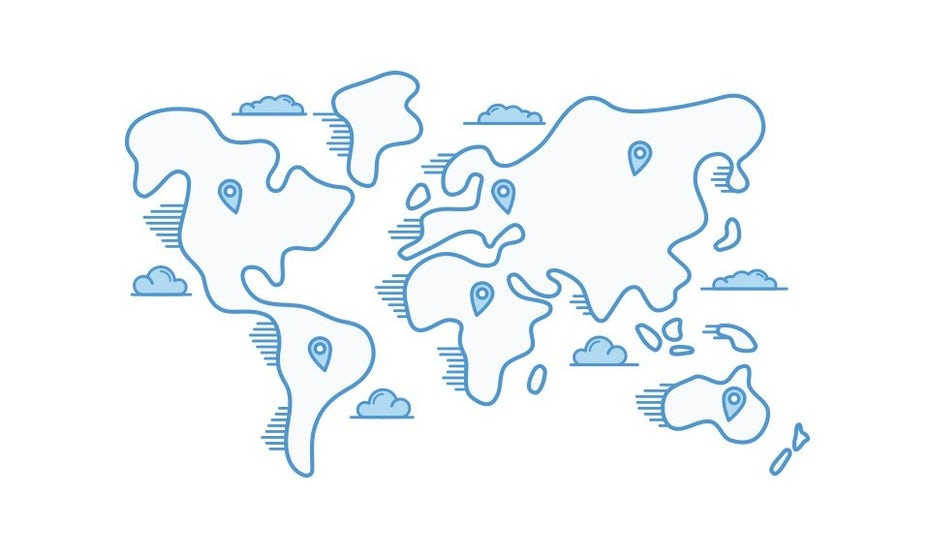 blue illustrated map of the world with markers in various cities