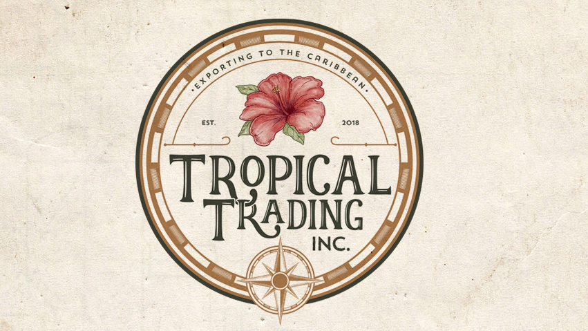 round vintage-style logo with a flower