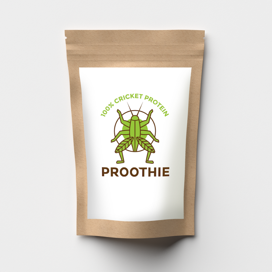 brown pouch with a white label with a cricket illustration