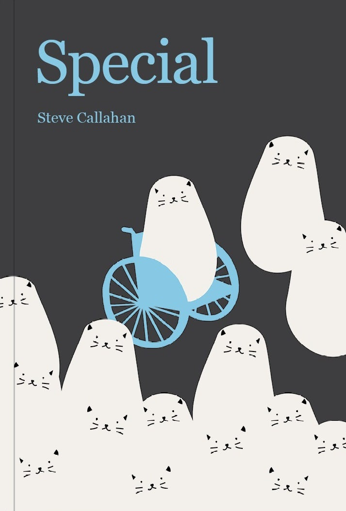 Book cover showing a cat in a wheelchair