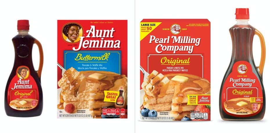 Aunt Jemima and Pearl Milling Co products side by side