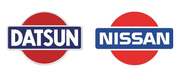 Datsun and Nissan logos side by side