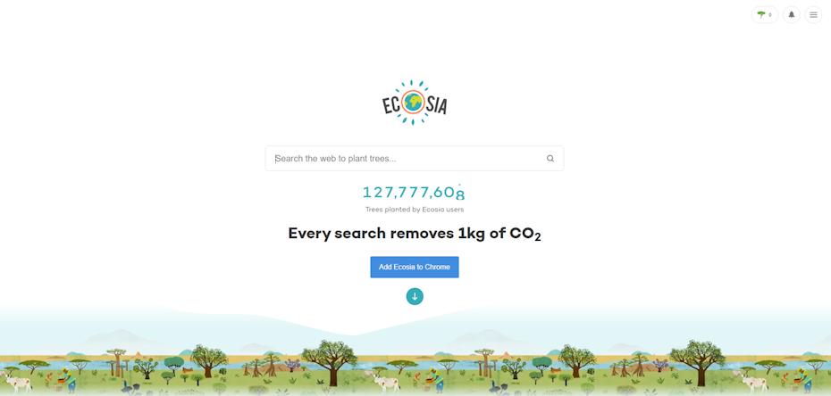 screenshot of Ecosia search page