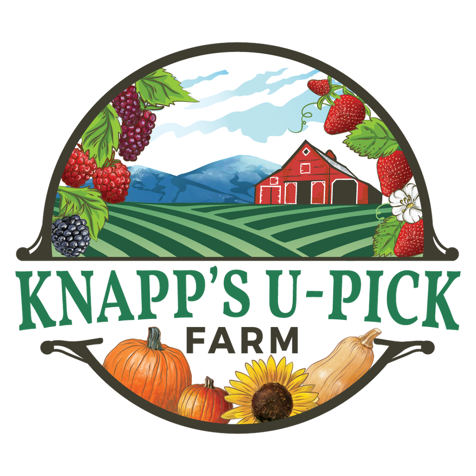 round logo showing a red barn and plants to pick