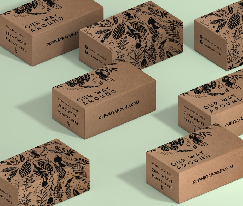 cardboard boxes with black text