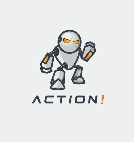 """white robot with orange eyes and the word """"action!"""""""