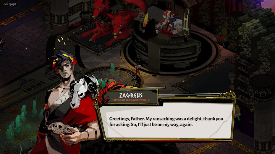 Screenshot of Hades dialogue box