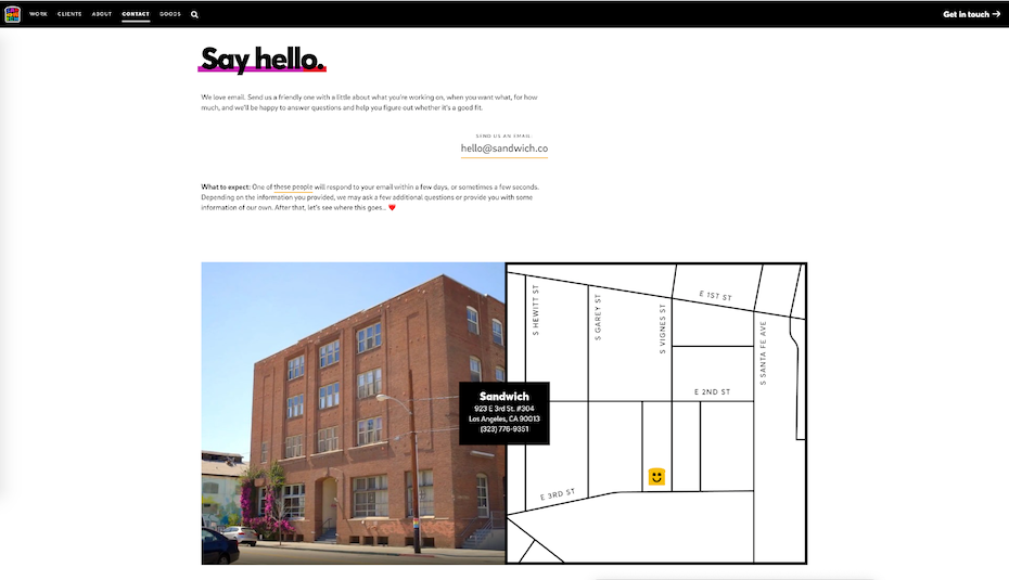 contact page of sandwich showing their address with a map and a photograph of the building
