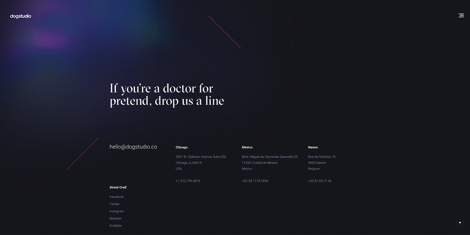 """contact page with """"If you're a doctor for pretend, drop us a line"""" written on it"""