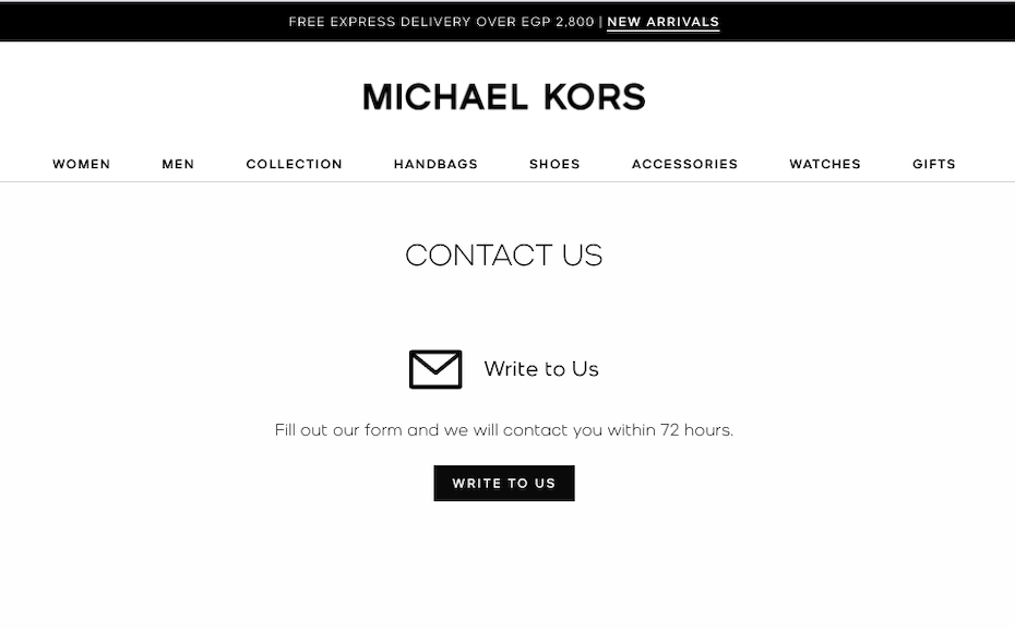 contact page with an estimated reply time