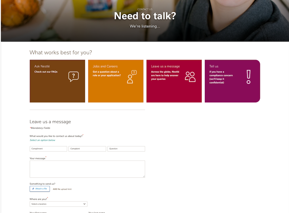 Nestle's contact page