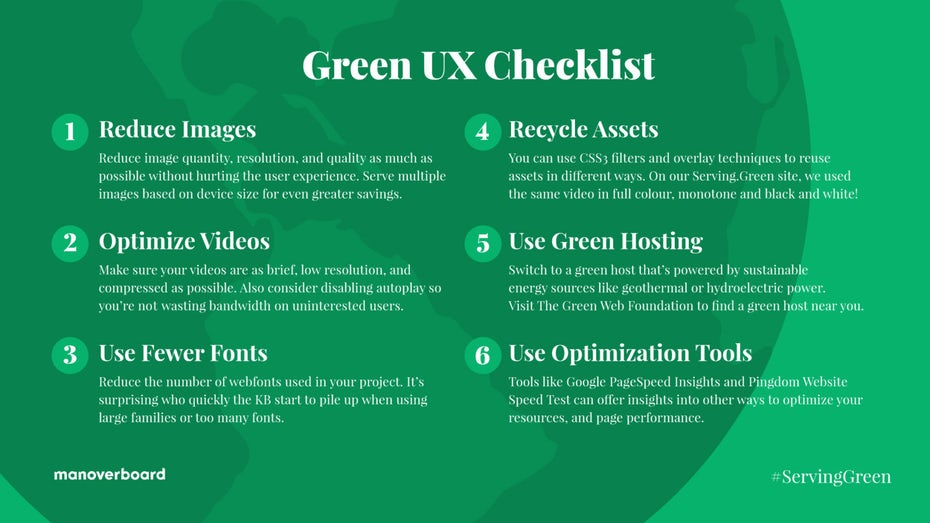green page with sustainable UX tips